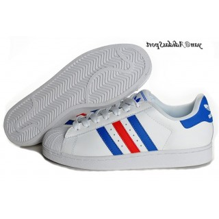 Blanc Bleu Rouge Adidas Originals Superstar Lovers Chaussures