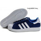 Blanc Bleu Royal Adidas Originals Superstar 2 Chaussures Homme Suede