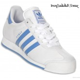 Blanc DodgerBlue Adidas Originals Femme Samoa Retro Chaussures en cuir