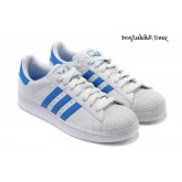 Blanc DodgerBlue Toes Adidas Originals Superstar II Shell Chaussures Femme