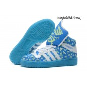 Bleu Blanc Vert pale Adidas Originals Jeremy Scott Big Tongue Glow The Dark Rocher HI