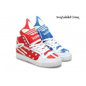 Bleu blanc rouge Adidas Originals Jeremy Scott Big Tongue USA Flag Glow The Dark