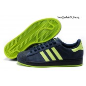 Bleu marine Neon Green Adidas Originals Superstar 2 Chaussures Lovers Suede