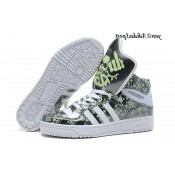 Darkgray Blanc Vert pale Adidas Originals Jeremy Scott Big Tongue Glow The Dark Crane de roche Glossy HI