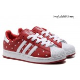 Darkred Blanc Chaussures Adidas Originals Superstar II Femme Cur Imprimé