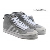 Gris Blanc Adidas Originals Honey HI Tops Skateboard Chaussures Femme