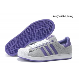 Gris Violet Blanc Adidas Originals Superstar II Lovers flanelle Chaussures