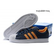 Navyblue Orange Blanc Adidas Originals Superstar 2 Chaussures Homme Suede