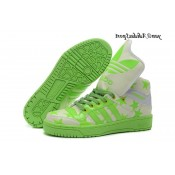 Neon Green Beige Blanc Adidas Originals Jeremy Scott Big Tongue Five Star Glow The Dark