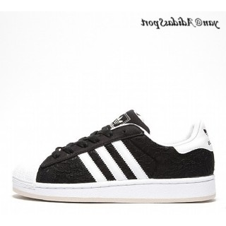 Noir Blanc Adidas Originals Superstar 2 Femme Lace Chaussures