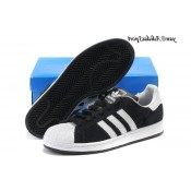 Noir Blanc Adidas Originals Superstar Lovers Suede Chaussure