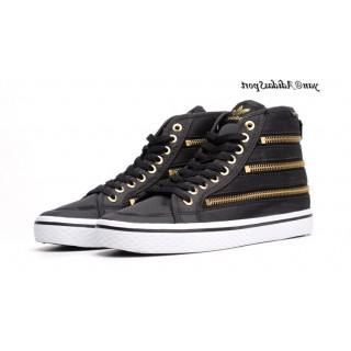 Noir Gold Adidas Originals Honey HI Tops Zipper Femme Chaussures Casual
