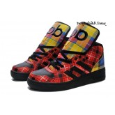 Noir Rouge Plaid coloré Adidas Originals by Jeremy Scott Instinct hautes chaussures