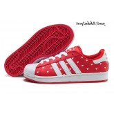 Red Dot Blanc Heart Chaussures Adidas Originals Superstar II Femme