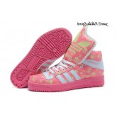 Rose Blanc Vert pale Adidas Originals Jeremy Scott Big Tongue Skull Glow The Dark