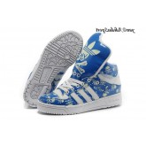 Royalblue Blanc Vert pale Adidas Originals Jeremy Scott Big Tongue Skull Glow The Dark