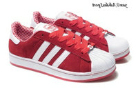 Scarlet Red White - Adidas Originals Superstar Lovers Suede Shoes