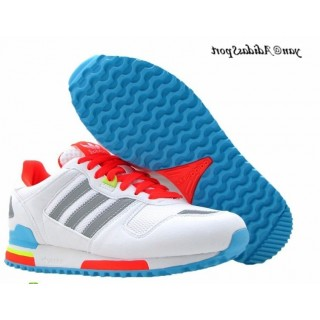 Blanc Rouge Slategray Deepskyblue Adidas Originals ZX 700 Lovers Retro Chaussures de course
