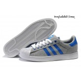 Gris Bleu Blanc Adidas Originals Superstar II Lovers flanelle Chaussures