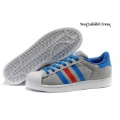 Gris Bleu Blanc Rouge Adidas Originals Superstar II Lovers flanelle Chaussures