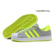 Gris Neon vert blanc Adidas Originals Superstar II Lovers flanelle Chaussures