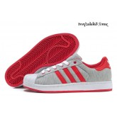 Gris Rouge Blanc Adidas Originals Superstar II Lovers flanelle Chaussures