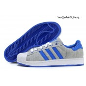 Gris clair Blanc Bleu Royal Adidas Originals Superstar II Lovers flanelle Chaussures