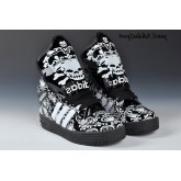 Noir Blanc Adidas Originals Jeremy Scott Big Tongue Glow Le roi Couronne Dark Skull