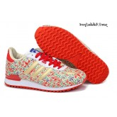 Or Rouge Fleurs Blanches Imprimé Adidas Originals Zx 700 2014 Chaussures Femme Limited Edition