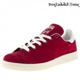 Scarlet Blanc Adidas Originals Stan Smith Femme Suede Chaussure
