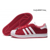 Scarlet Red Blanc Adidas Originals Superstar Lovers Suede Chaussure