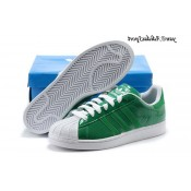 Vert Blanc Adidas Originals Superstar respirant Lovers Chaussures en cuir