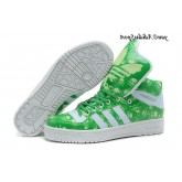 Vert Blanc Vert pale Adidas Originals Jeremy Scott Big Tongue Skull Glow The Dark